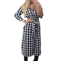 2016 Explosions Autumn Fall Asymmetrical Vintage Dresses Winter Women Plaid Print Dress Casual Shirt Dress Mini