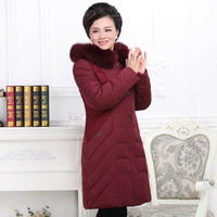 plus size big size middle aged clothes Middle aged and old upset down jacket long fat mother dress 2018 Winter coats P8199