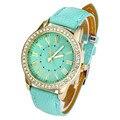 Brand Watch Geneva Women PU Leather Roman Rhinestone Quartz Wrist Watch Dress Watch Montre femme Clock Female Relojes mujer