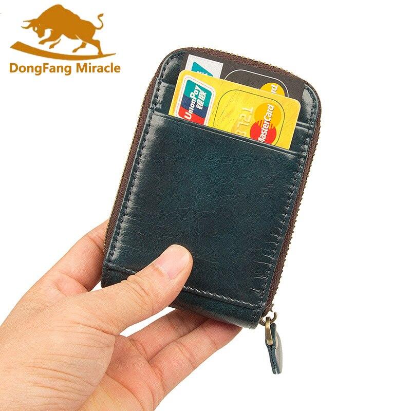 Genuine Leather Women Card Holder Wallets Men Rfid Credit