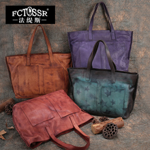 High Capacity Genuine Leather Vintage Handbag Women Top Handle Bag  2017 Handmade Women Shoulder Bag Casual Tote Big Bag