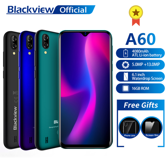 Blackview A60 смартфон 4 ядра Android 8,1 4080 мАч мобильный телефон 1 Гб + 16 Гб 6,1 дюймов 19,2: 9 Экран двойной Камера 3g мобильного телефона