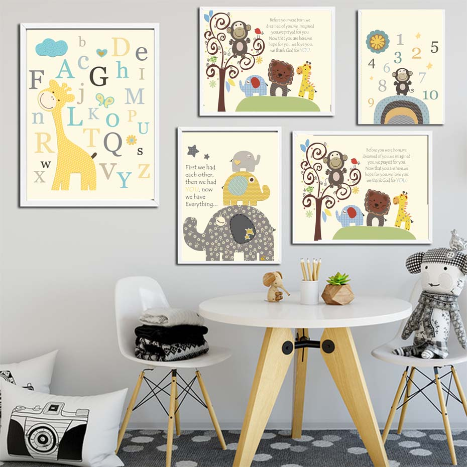 Safari Theme Nursery Canvas Painting