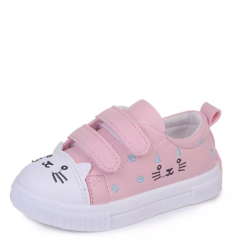 JGSHOWKITO Fashion Girls Casual Shoes White Skate Sneakers For Toddlers Kids Children's Anti-slid Sports Shoes Cute Cartoon Cat