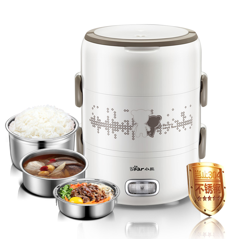 Electric Lunch Boxes 3 Layers Pluggable Insulation Heating Cooking Stainless Steel Automatic Hot Meals Steamed Rice Cooker ...