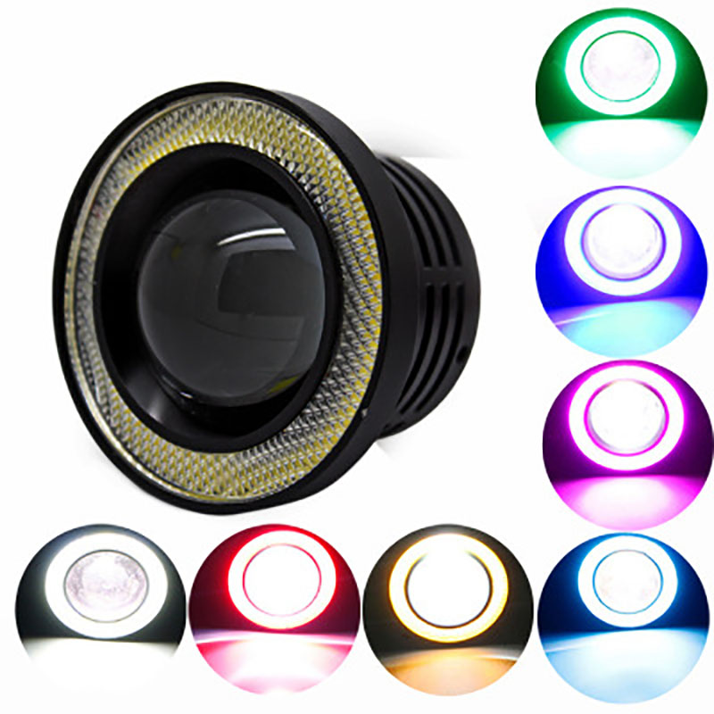 64mm 2.5 inch car motorcycle bright waterproof COB angel eye anti-fog lamp modified daytime running light