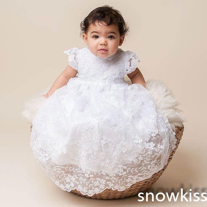 цена  2016 Fashion Short Sleeve Blessing Baptism Christening Gown Lace Baby Dresses bonnet White/ Ivory for Baby Girls and Boys Custom  онлайн в 2017 году
