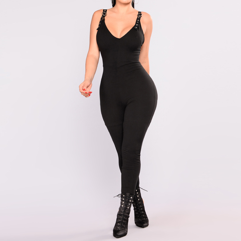 Fashion Women Jumpsuit Sexy Deep V Sleeveless Backless Tight Jumpsuits For Women 2017 Summer New One Piece Rompers Clothing