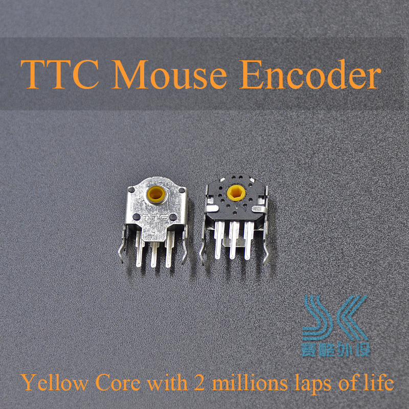 2Pcs Original TTC 9mm Mouse Encoder Yellow Core For Gaming Mouse RAW Deathadder Logitech G403 G603 G703 High-precision Long Life