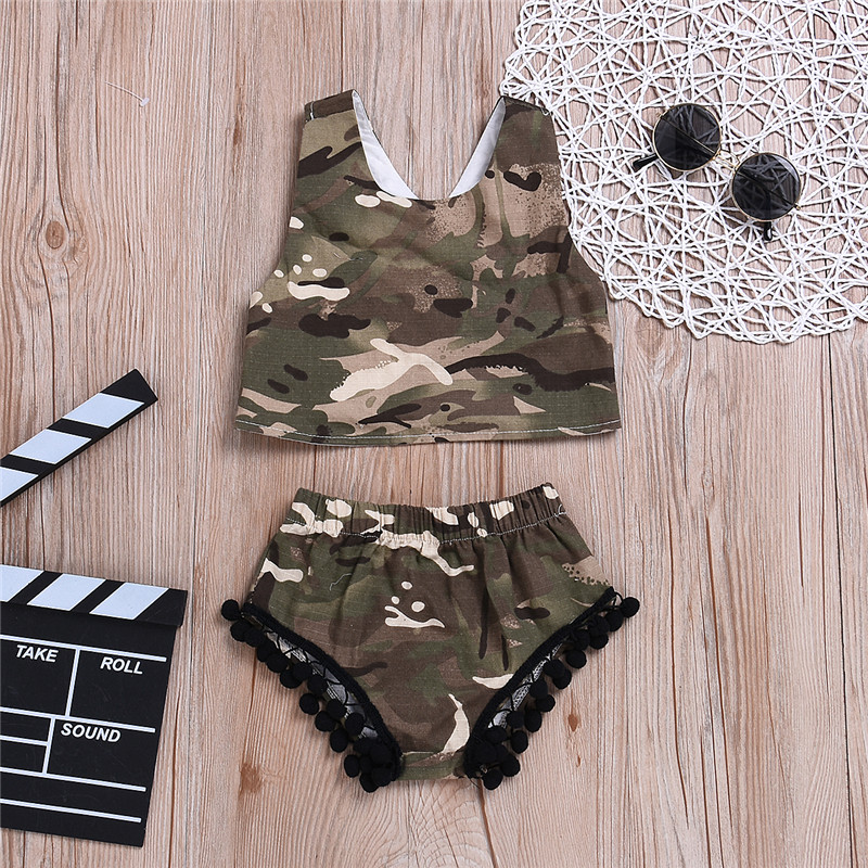 Sweet-Tempered Camo Tops Vest Sleeveless Shorts Casual Cotton Tassel Outfits Clothing Girls 3m-3t 2pcs Newborn Kids Baby Girl Clothes Set Mother & Kids