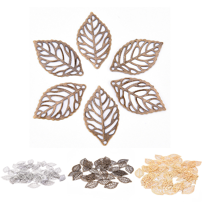 10pcs Filigree Leaves Wrap Connector Metal Crafts Jewelry Making DIY Accessories