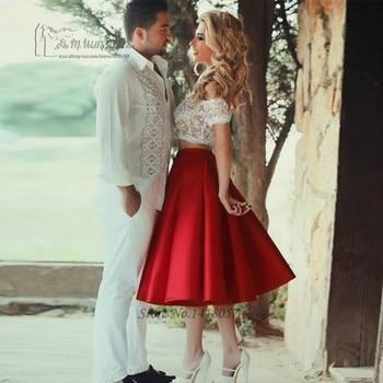 f0bee7a0d1 Sexy 2 Unidades Blanco Rojo de La Boda Vestidos de Corto Vestido de Novia  Árabe Robe de Mariage Curto Encaje Baratos Vestidos de Novia de La Rodilla  ...