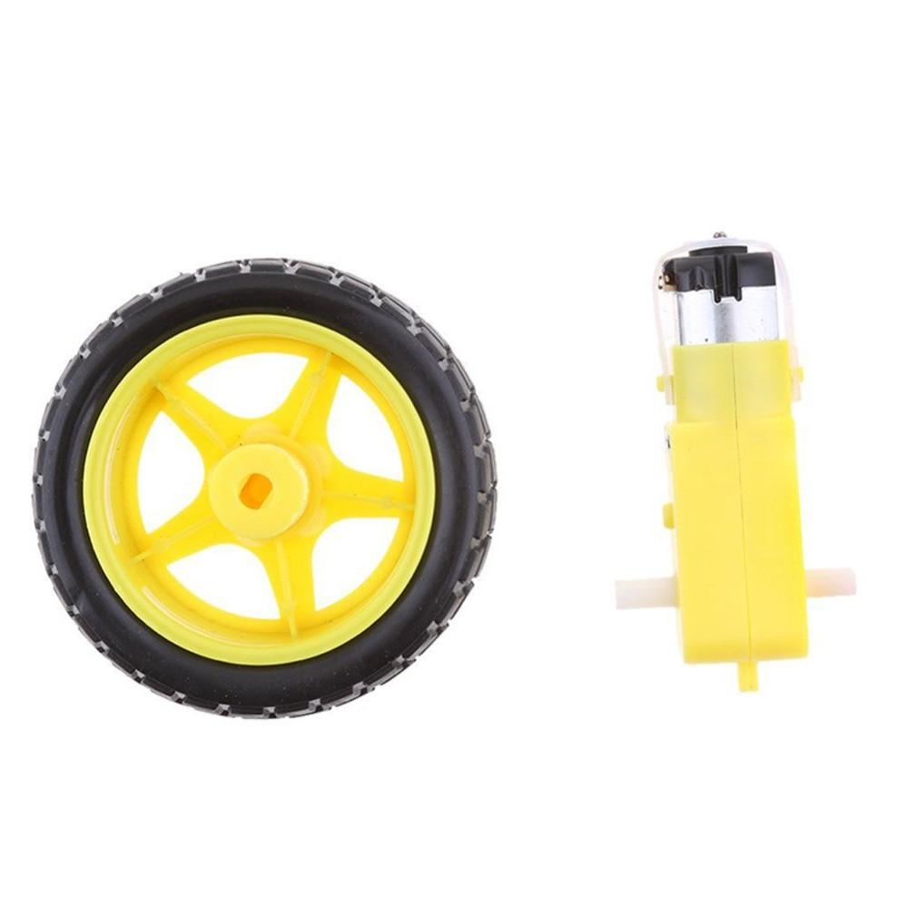 2PCS  arduino smart Car Robot Plastic Tire Wheel with DC 3-6v Gear Motor