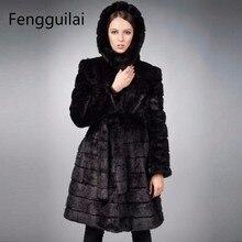 2018 New Winter Womens Outwear Long Sleeve Mink Fur Coat Long Overcoat Black Women Jacket Plus Size S-6XL Costumize