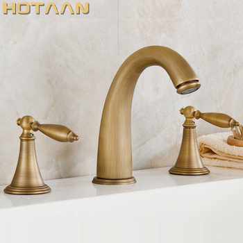 Free shipping Mixer for bath antique brass color finish  shower hotel brass 3 pss set bath tub faucet with hand shower YT-5332