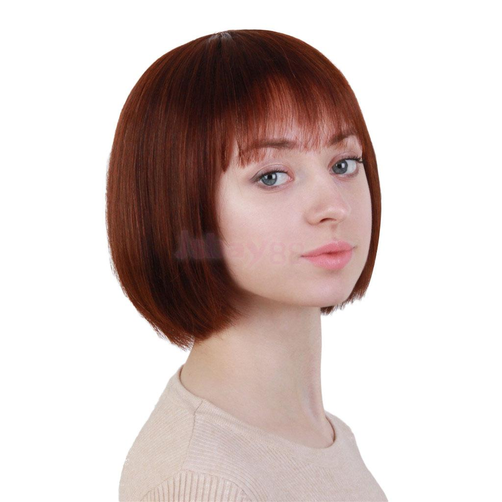 Natural Blond Human Hair Wigs Short Bob Straight Full Wigs with Bangs for Women Natural Looking цена 2017