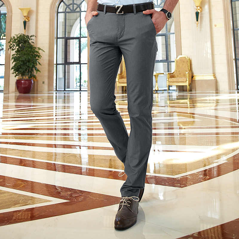 c79607b120ae High Quality Summer Breathable Men s Chino Pants Slim Fit Office Work Dress  Pants Men Smart Casual