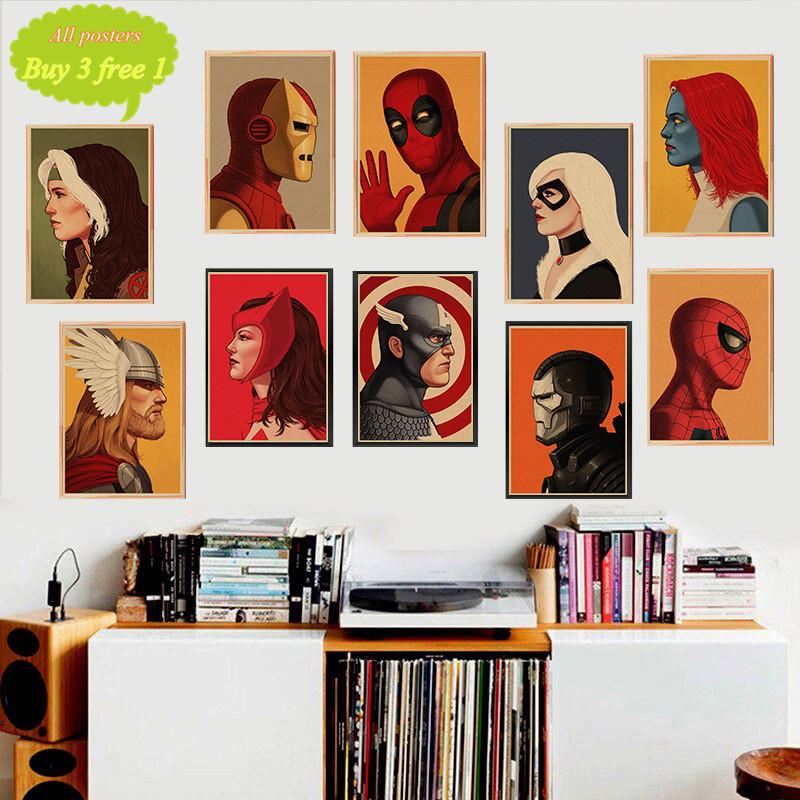 Marvel SuperHeroes Character SpiderMan Iron Man Captain America Poster Bar Cafe Home Decor Painting
