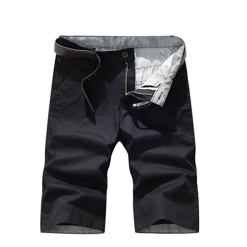 2018 Summer New Solid Color Black Khaki Shorts Men Cotton Slim Fit Knee Length Casual Men Clothes Size 29-40
