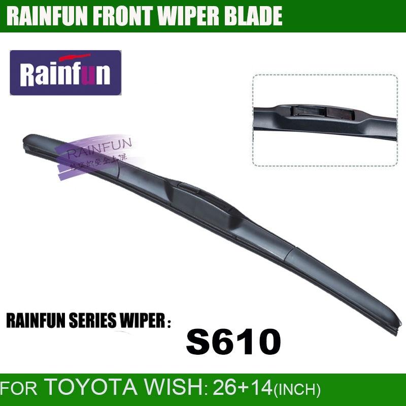 RAINFUN S610 специальная автомобильная щетка стеклоочистителя для TOYOTA WISH(10-), 26+ 14 дюймов автомобильный стеклоочиститель с высоким качеством натурального каучука, 2 шт в партии