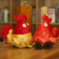 2017 Chicken Year 1Pc 28 42Cm 2 Styles Mascot Stuffed Tang Suit Red Rooster Plush Toy