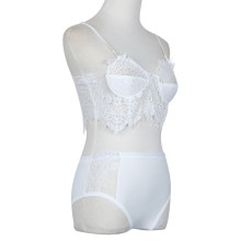 Women Lace Briefs Underwear Set Club Nightwear Lingerie White