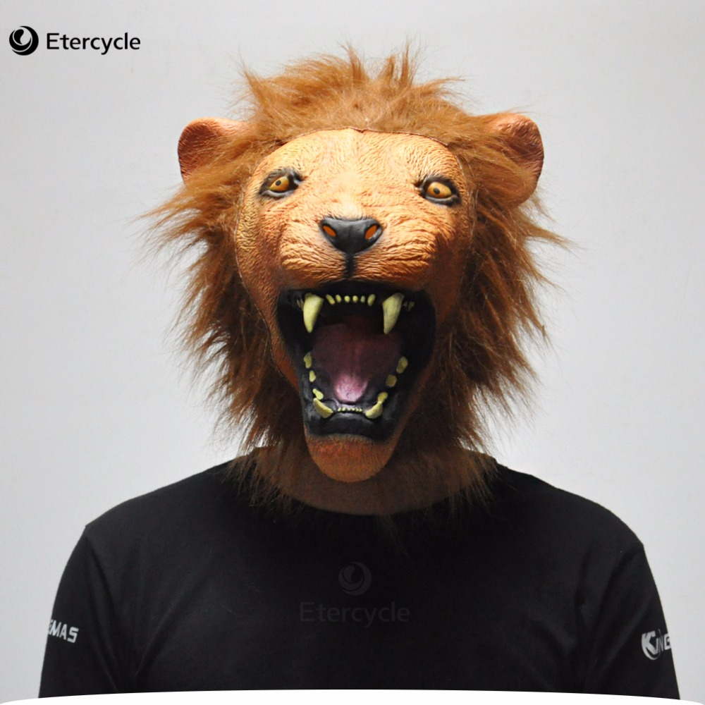 Angry Lion Head Latex Masks Scary Halloween Party Full Face Mask Animal Cosplay Prop Masquerade Fancy