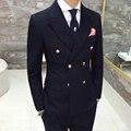 Trajes de vestir de los hombres de Invierno nuevo retro cruzado chaqueta Delgada Inglaterra Caballero ocio alta calidad de los hombres Blazers XZ66