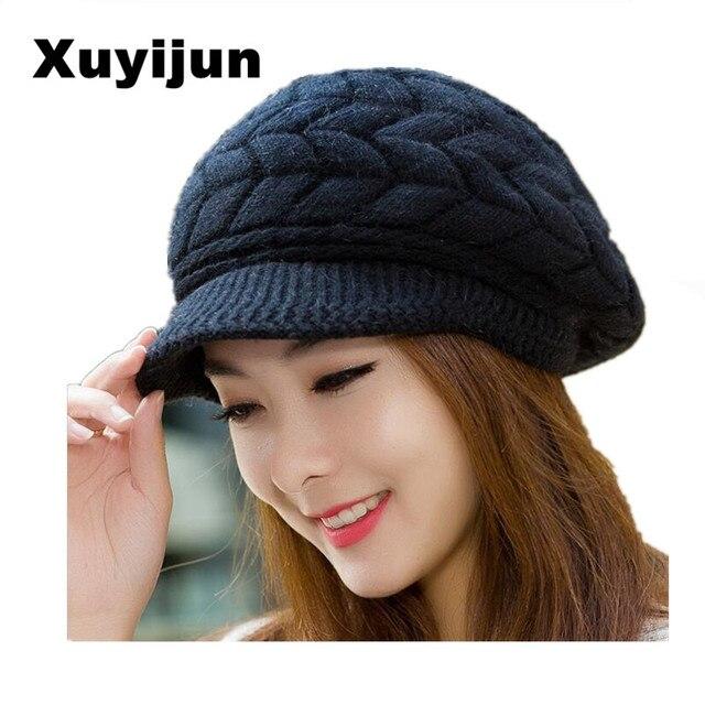 XUYIJUN Hiver Tricot Femmes de Chapeau Chapeaux D hiver Pour Les Femmes  Dames Filles Skullies 62b2ea14b5f