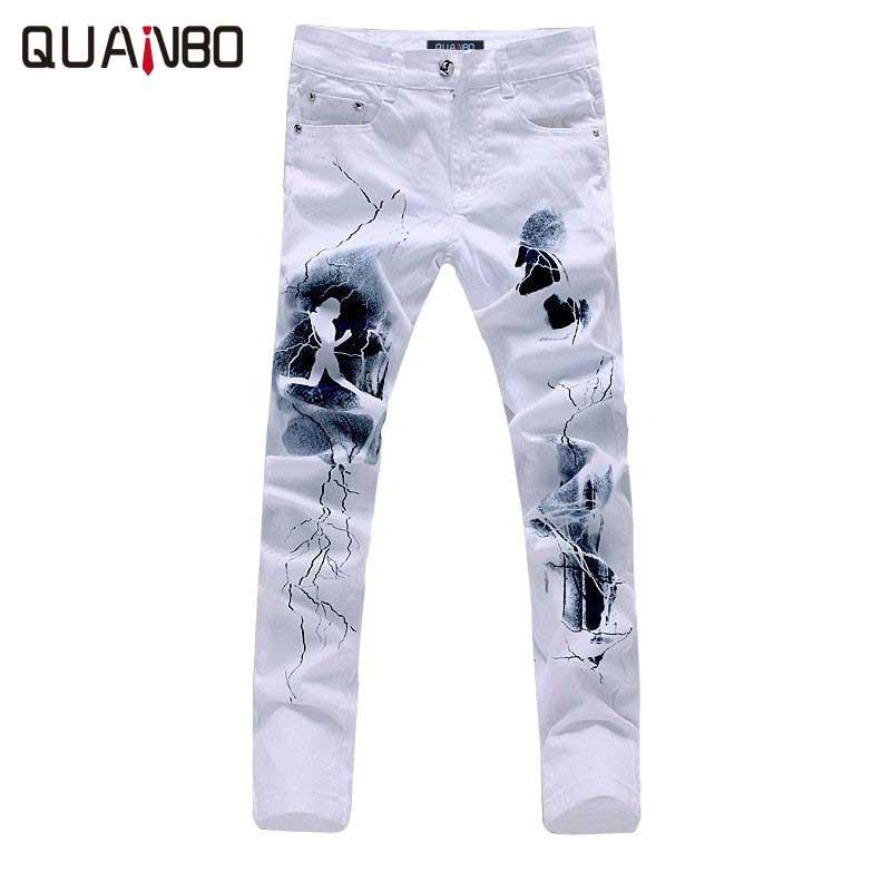 QUANBO Big Size  White Printed Men Jeans Fashion Male Unique Cotton Stretch Jeans Man's Casual Character Pattern Biker Jeans