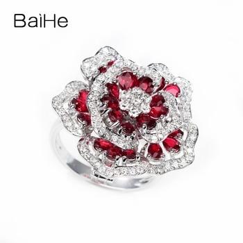 BAIHE Solid 14K White Gold H/SI 0.70ct Natural Diamond 2.5ct Rubis Women Trendy Fine Jewelry Delicate flower ruby diamond Ring 2