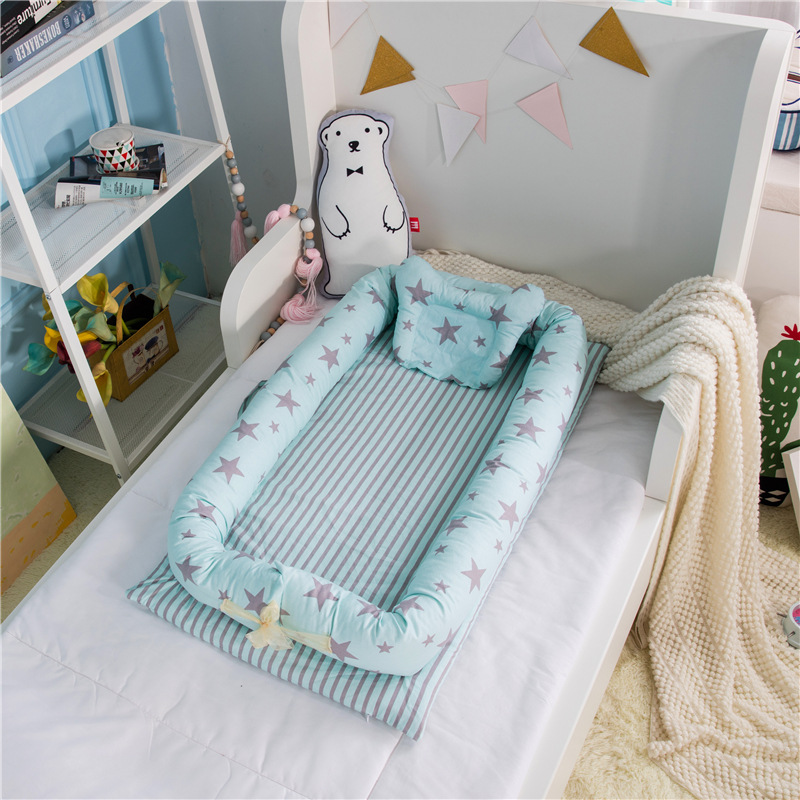 Potable Baby Bed Print Cotton Bionic Bed Washable Bed Multi Functional Travel Crib Bed With Bumper Newborn Mattress