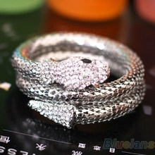 Vintage Retro Punk Rhinestone Curved Stretch Snake Cuff Bangle Bracelet 09EM 09f7c5bb18a4