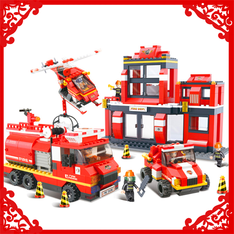 SLUBAN 0226 693Pcs Fire Series Rescue Operation Model Building Block Construction Figure Toys Gift For Children Compatible Legoe jie star fire ladder truck 3 kinds deformations city fire series building block toys for children diy assembled block toy 22024