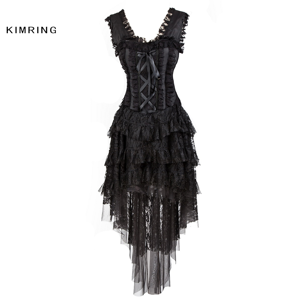 Kimring Sexy Burlesque Queen Halloween Costume Lace Corset Dress Multi Layer Ruffle Lace Skirt Bustier Corset