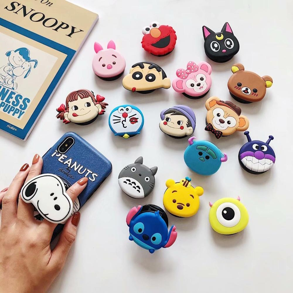Universal Mobile Phone Bracket Cute Animal Pattern Fold Phone Expanding Stand Finger Holder Cartoon Phone Holder Stand