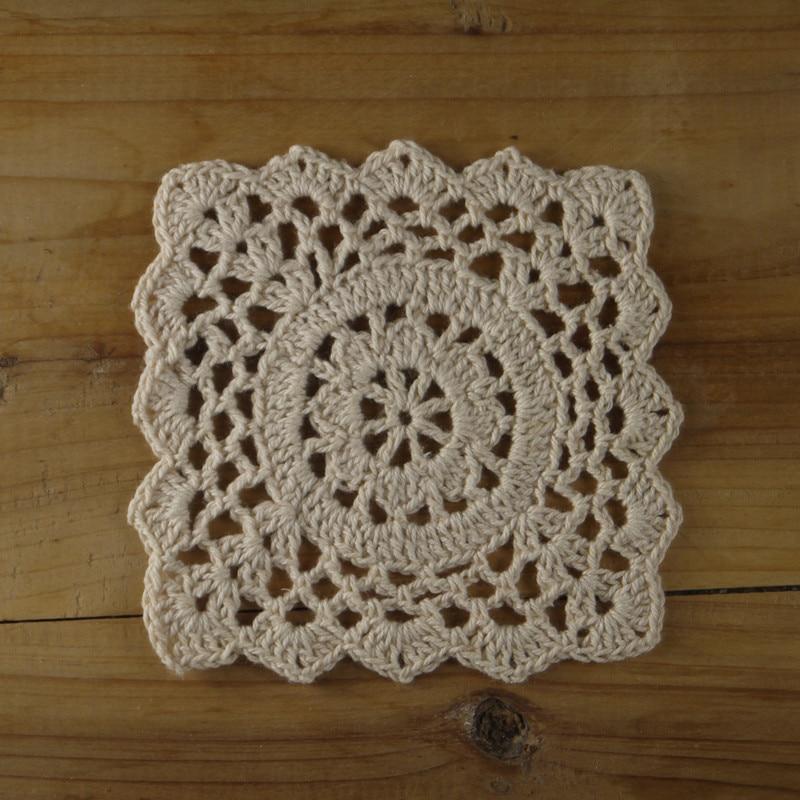 Square Crochet Doilies With Filet Crochet Pattern Coaster Mat Pads