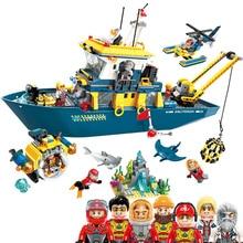New Hot Enlighten Deep Sea Mission Diving Spar shark command Ship Building Blocks Model kit Bricks Educational Toys for Children недорго, оригинальная цена