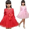Princesa de las muchachas vestido de manga larga de la moda de primavera vestido de las muchachas del Bebé vestido de fiesta rosa vestidos de flores para niños ropa