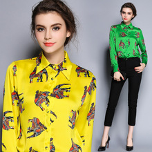 High Quality Women Floral Print Polo Blouse Cardigan Tops Blouse Female 2017 Summer OL Women's CHIFFON Silk Blouse Shirts JA2489