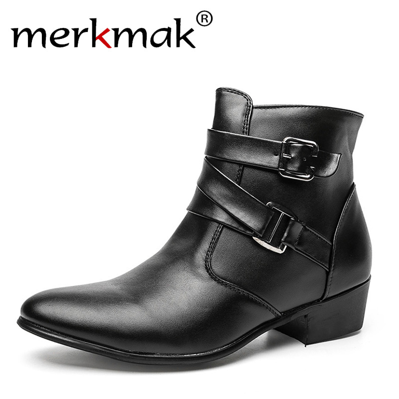 New 2018 British Style Casual Men Autumn Ankle Boots Heels Fashion Pointed Toe Martin Boots Trendy Men Leather Boots Shoes Men pointed toe men leather boots british style glitter men fashion boots zip mujer bota sequin red booties autumn military boots