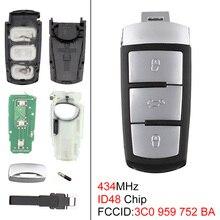 3 Buttons 434MHz Keyless Uncut Flip Smart Remote Fob with ID48 Chip 3C0959752BA Fit for VW Passat B6 3C B7 Magotan CC 2006-2011 недорого