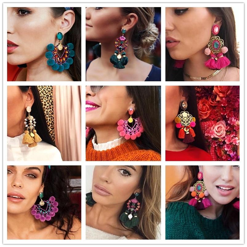 2019 Hot Luxury Long Pendant Tassel Statement Earrings Boho Shiny Drop Dangle Earrings For Women Wedding Charm Fringed Bijoux