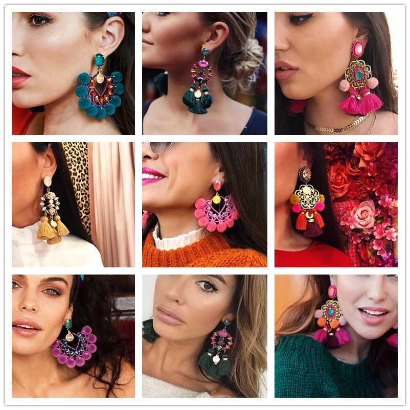 2019 hot Luxury long Pendant Tassel Statement Earrings Boho Shiny Drop Dangle Earrings For Women wedding Charm Fringed Bijoux
