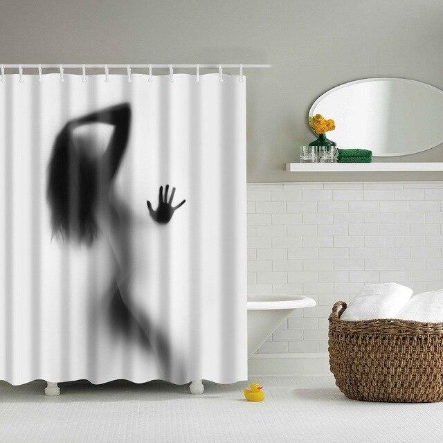 portrt decor badezimmer dusche vorhnge frau schatten duschvorhang waterproo polyester stoff benutzerdefinierte bad vorhang haken - Stoff Vorhang Dusche