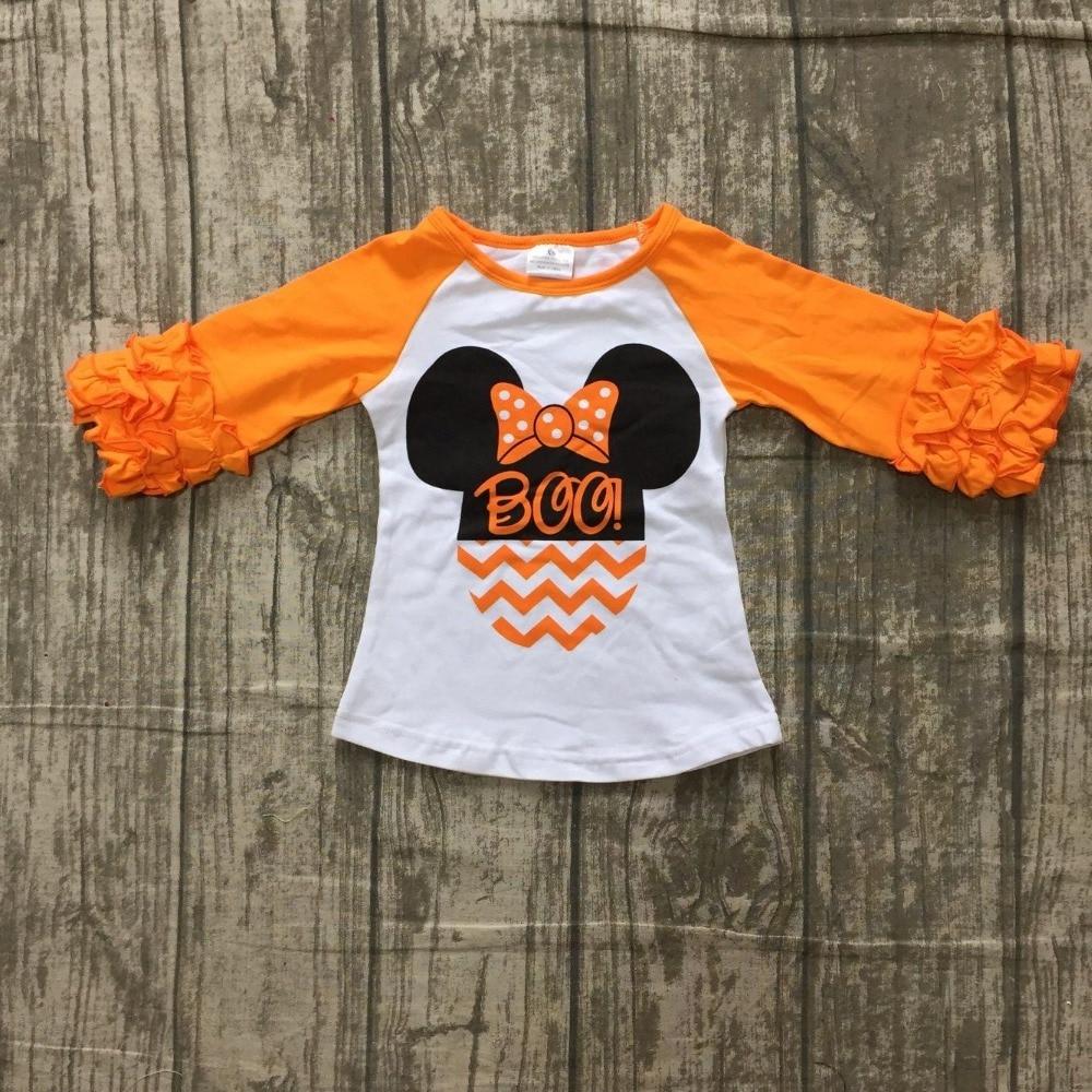 Nuovo Halloween Autunno/inverno del bambino delle ragazze dei bambini boutique di abbigliamento top in cotone t-shirt raglans attrezzature del bambino del bambino del mouse BOO orange Minni * e
