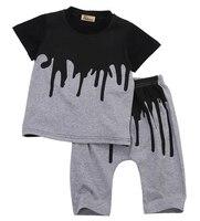 2pcs Newborn Toddler Infant Kids Baby Boy Summer Clothes Set Short Sleeve T Shirt Tops Long