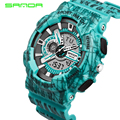SANDA Waterproof Shock Resistant Camouflage Stripe Men Sport Quartz Watch Led Digital 2 Zone Times Military G Style Wristwatches