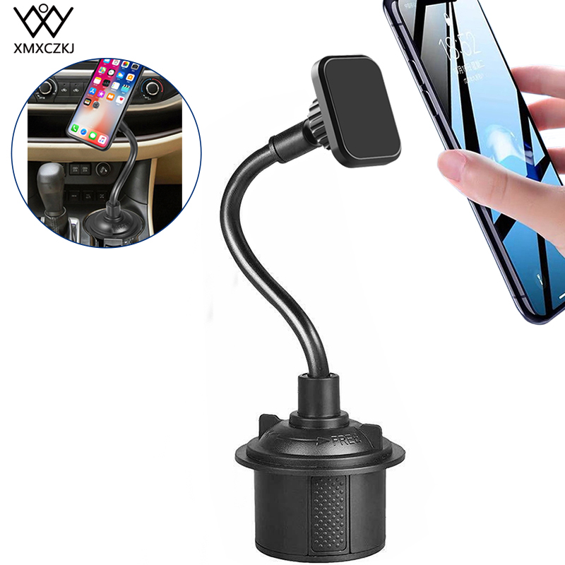 XMXCZKJ Universal Magnetic Car Cup Holder Mount For IPhone XS XS Gooseneck Car Cup Holder Magnetic Cradle Mount For Note 9/ S10+