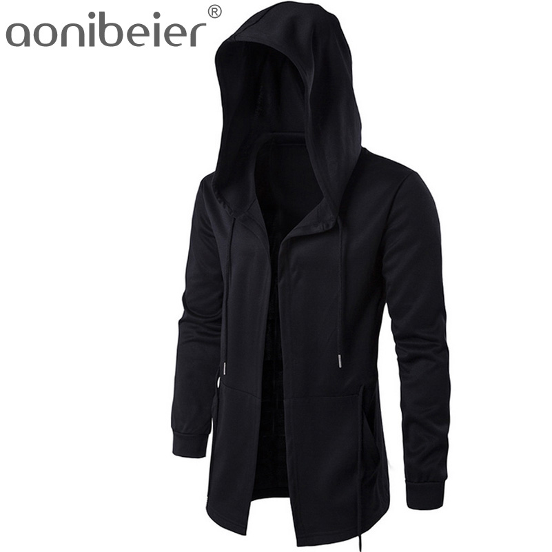 Aonibeier Men Hooded Sweatshirts With Black Gown Hip Hop Mantle Hoodies Fashion Jacket long Sleeves Cloak Man's Coats Outwear